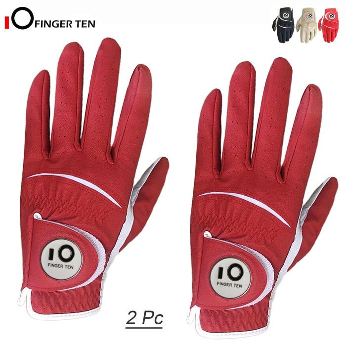Golf-Gloves Ball-Marker Grip Mens Soft with Cabretta Navy Khaki Red Small Medium Large