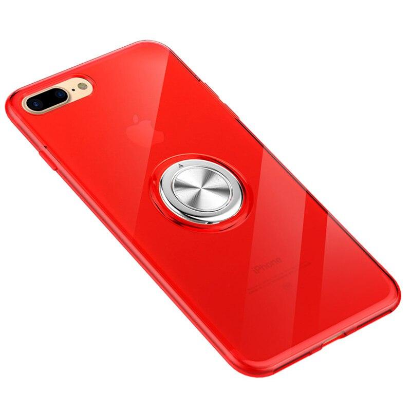 Telefon Fall für iPhone 7 8 Plus Coque 6 6s Neue Ankunft Original Luxus Weiche TPU PC Volle Abdeckung funda Metall Ring Halterung Stoßfest