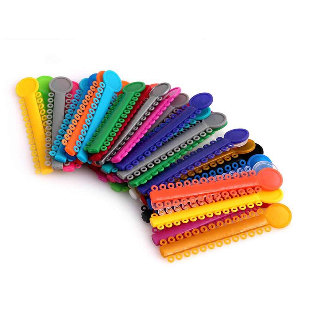 1040Pcs Dental Ligature Ties Orthodontics Elastic Random Color Rubber Bands 1Pack