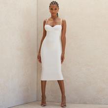 Женское облегающее платье из вискозы белое вечернее до середины