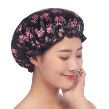 Touca de banho à prova dwaterproof água de alta qualidade engrossar chapéu de banho touca de banho para spa feminino acessório de banho do salão de beleza produto do banheiro