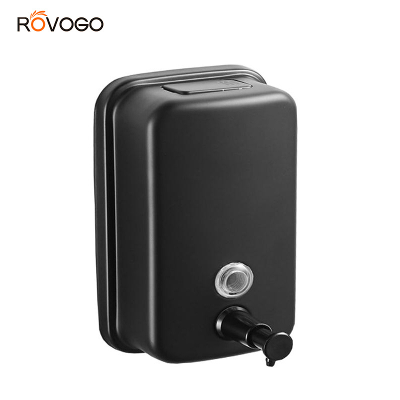 ROVOGO 500/800/1000Ml Black/Mirror Soap Dispenser Wall Mounted, Stainless Steel Bathroom Dispenser For Home Hotel