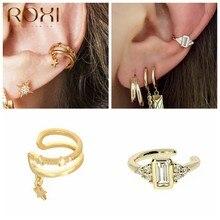 ROXI-boucles d'oreilles carrées à clips, jolies pierres précieuses, pour femmes et hommes, boucle d'oreille de mariage, sans Piercing, manchette d'oreille, bijoux en argent 925