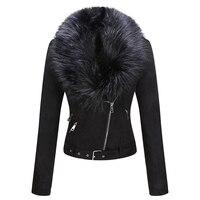 Geschallino 2021 Neue Winter frauen Jacke Dicke Warme Faux Wildleder Kurze Mantel Abnehmbare Faux Pelz Kragen Leder Jacken Outwear