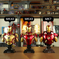 1/4 US Tony Stark Iron Men Bust Statue MK43/MK42/MK7 With Illuminated Made Model Toys Doll for Family adult Kids Collection Gift