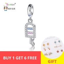 Strollgirl 100%925 sterling silver CZ charm ice cream pendant beads suitable for Pandora bracelet women fashion jewelry gift hot стоимость