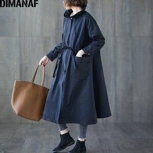 Image 4 - DIMANAF 여성 자 켓 코트 플러스 크기 가을 큰 크기 카디 건 여성 느슨한 겉옷 긴 소매 주머니 지퍼 의류 2021