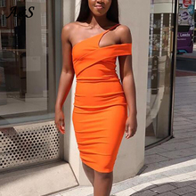 Anbenser Sexy Club Dresses Woman Party Night Elegant One Shoulder Midi Pencil Bodycon Dress Neon Orange Pink Fall 2019