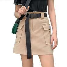 Women #8217 s Belted Cargo Skirt Utility High Waist Mini Skirt with Belt Pockets Khaki Armygreen Black Spring Summer Ladies Outfits cheap Fictitni COTTON Polyester Ages 18-35 Years Old A-Line Sashes F255 empire Solid Military Above Knee Mini