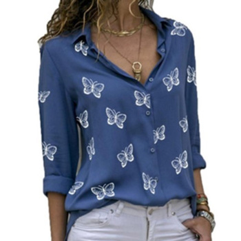 2020 New Fashion Butterfly Print Women Blouses Long Sleeve Turn-down Collar Blouse Shirt Casual Tops Elegant Work Shirt