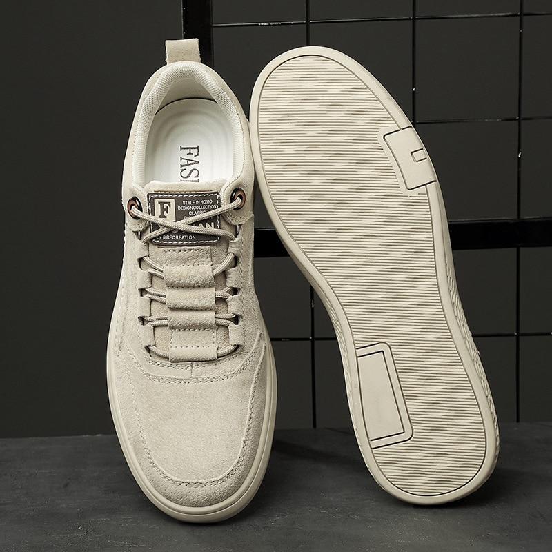 Versatile MEN'S Leather Shoes Korean-style Trend Shoe Men's Sports Casual Retro Sneakers Lace Up Low Top Footwear Trainers