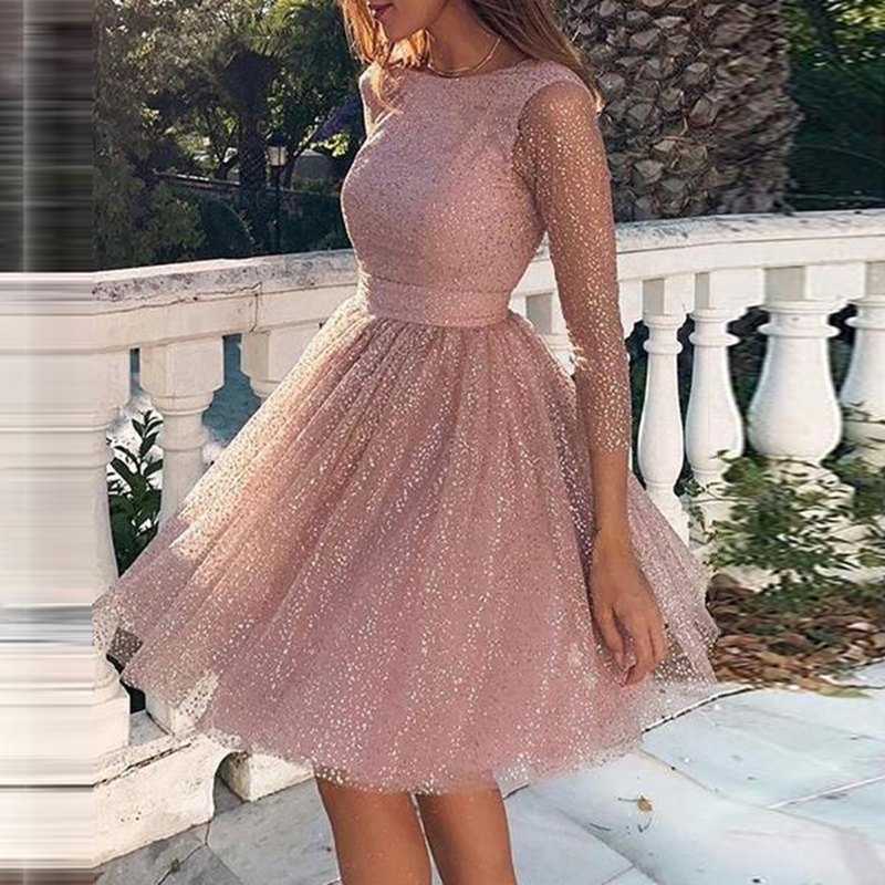 Women Elegant Dress Sweet Sexy High Waist Shiny Dresses Large Swing A Line Princess Cocktail Dinner Party Dress Mini Short Lady