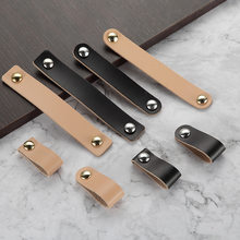 PU Leather Handle and Knobs Door Knobs Pull For Furniture Cabinet Drawer Suitcase Handle With Screws Furniture Hardware(China)