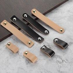 Ручки и ручки для дверей из искусственной кожи, ручки для мебели, ящика шкафа, чемодана, ручки с винтами, мебельная фурнитура