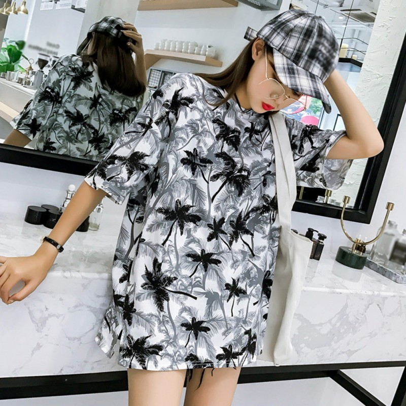 Harajuku Fashion Women O Neck Short Sleeve T shirt Casual Printed T shirts Couple Summer Oversize Loose Streetwear Tee Tops in T Shirts from Women 39 s Clothing