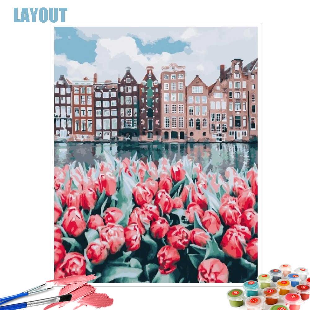 HUACAN-peinture par nombres de paysage sans cadre, coloration par nombres, décoration d'intérieur, image peinte à la main, cadeau