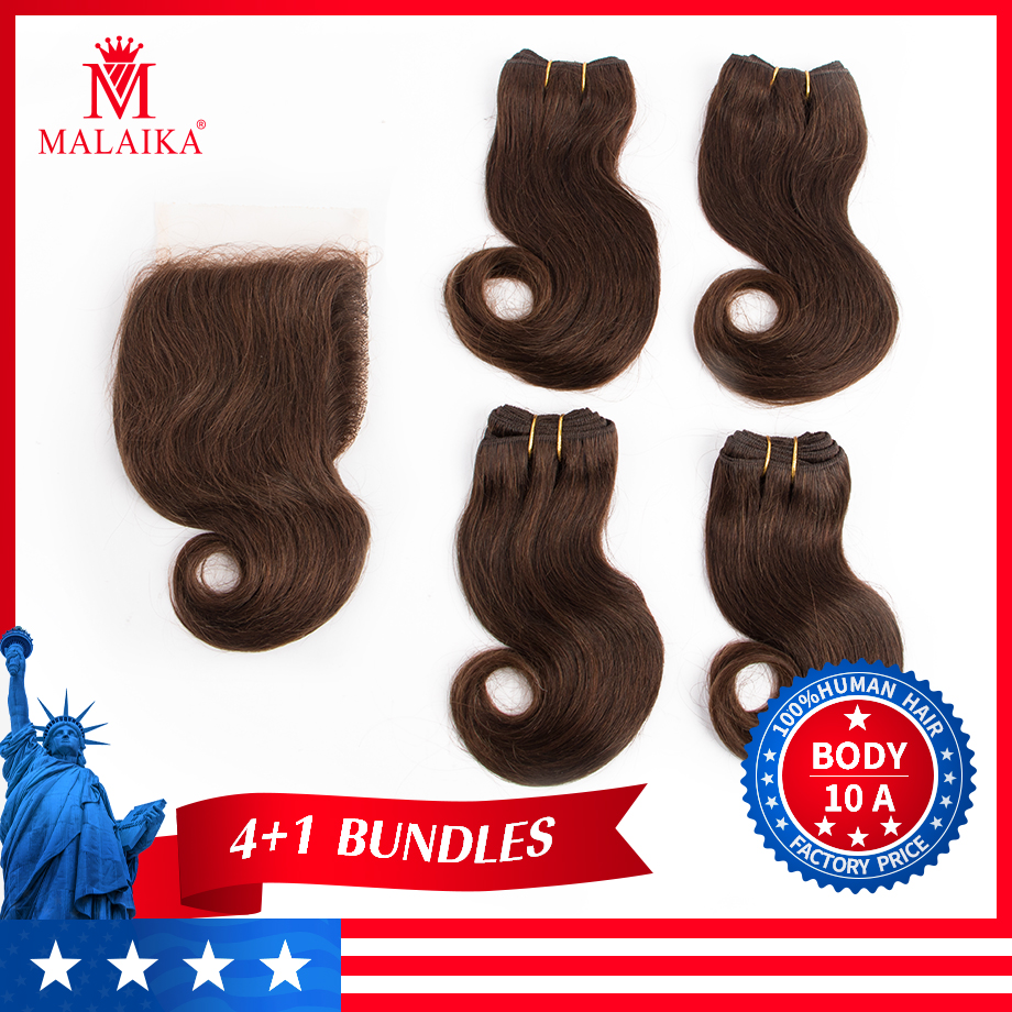 MALAIKA Body Wave Bundles With Closure Brazilian Hair Bundles With Closure Non Remy Human Hair Bundles With Closure