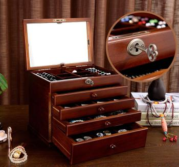 the mirror Solid wood wooden box makeup Storage Boxes jewerly box organizer retro style large