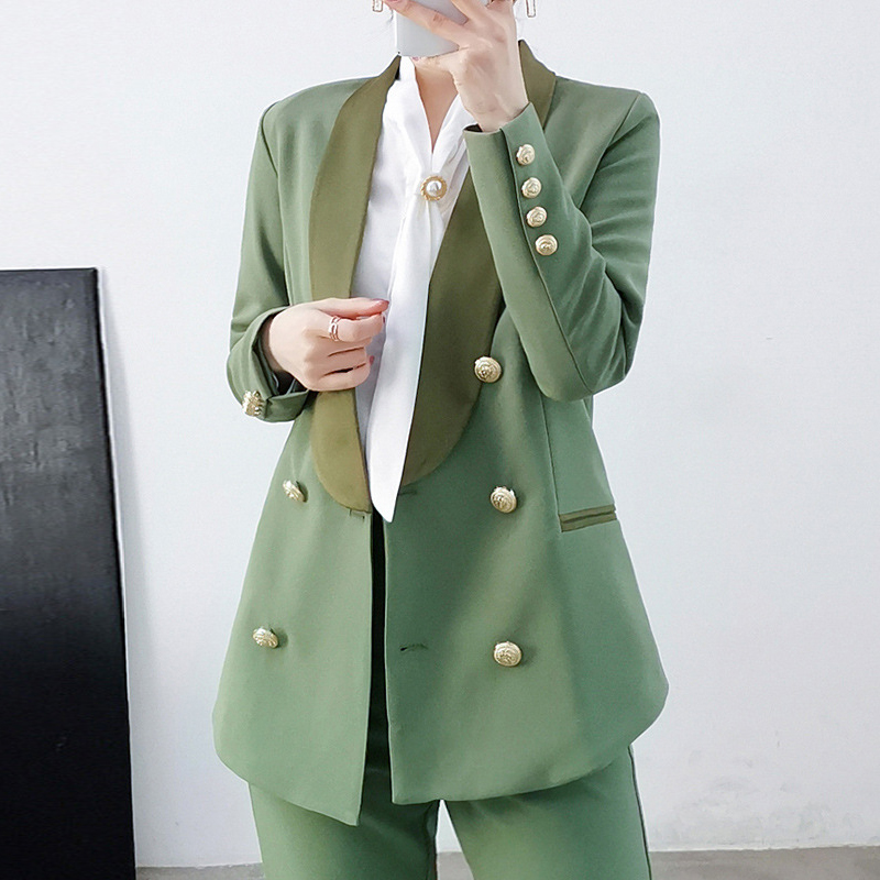Vintage Double Breasted Office Ladies Blazer With Belt Long Sleeve Spring Top Quality Suit Coat Jacket Women Blazers Female