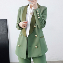 Vintage Double Breasted Office Ladies Blazer with belt Long Sleeve Spring Top Qu