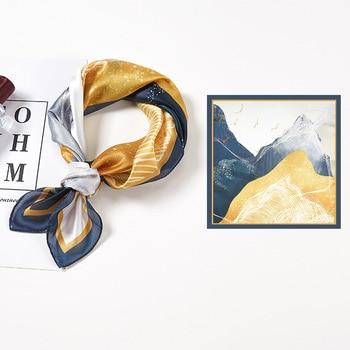 YILIAN Brand 53*53cm Square Scarf Floral Mountains Animal Print Elegant Lady Cravat Bag Decoration Scarf Soft  Silk Scarf 100% natural silk men s elegant double faced cravat scarf
