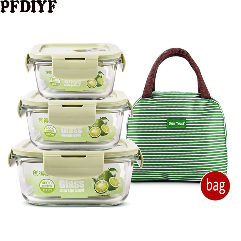 Leakproof Glass Lunch Box With Bag Microwave Oven Heating Refrigerated Sealed Food Container Transparent Food Bento Box For Kids