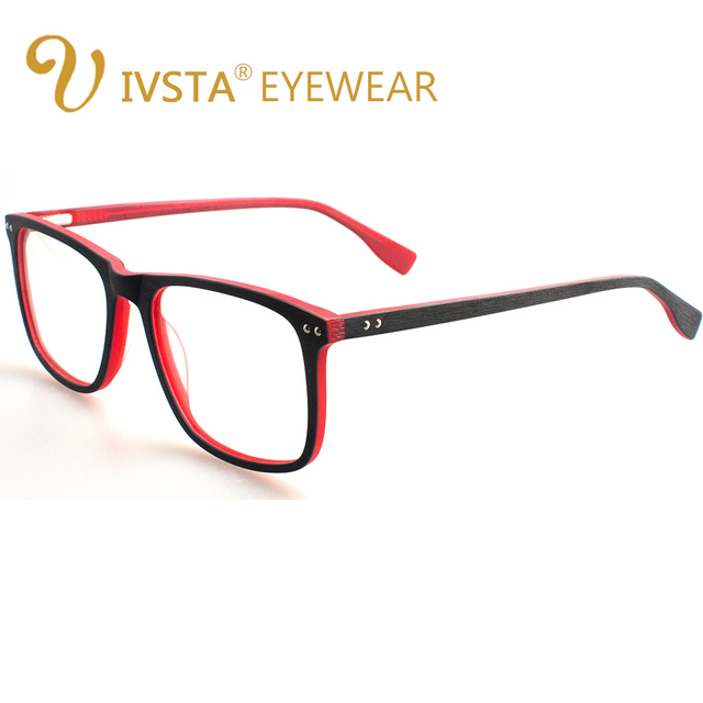 IVSTA בעבודת יד עץ משקפיים גברים עץ משקפיים כיכר מחזה קוצר ראייה משקפיים עדשות אופטיות אצטט מסגרות גדול גדול