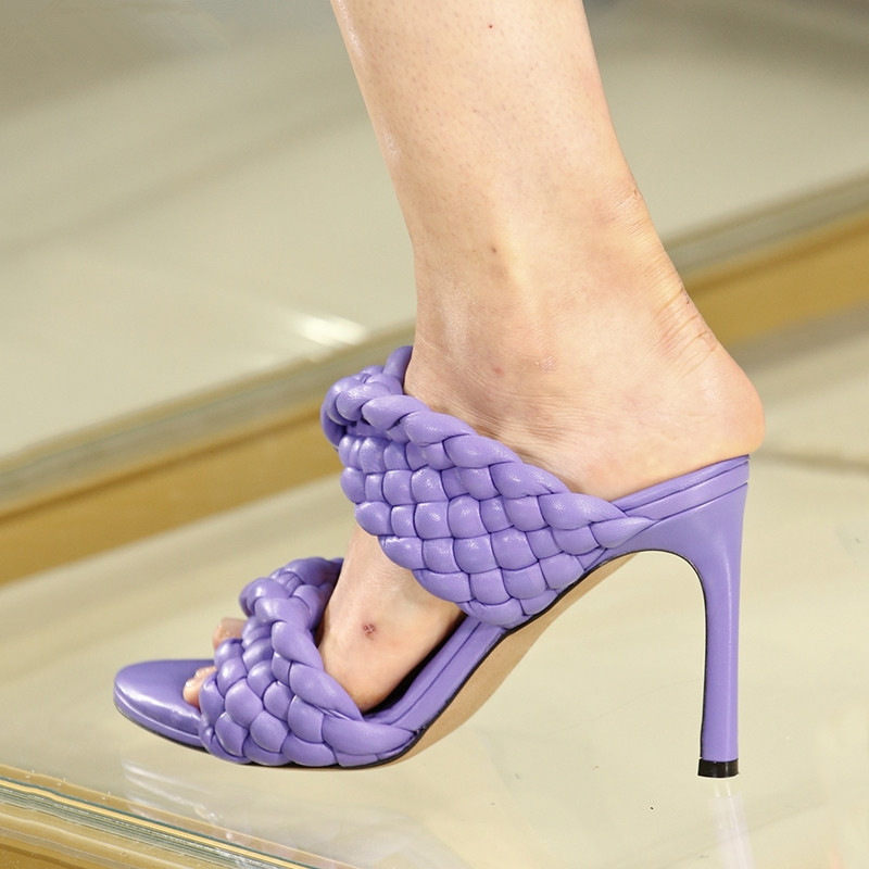 2020 Leather Braided High Heel Sandals Women Runway Party Shoes Woman Cross Wove Folds Mules Shoes Sexy Thin Heel Slippers Woman