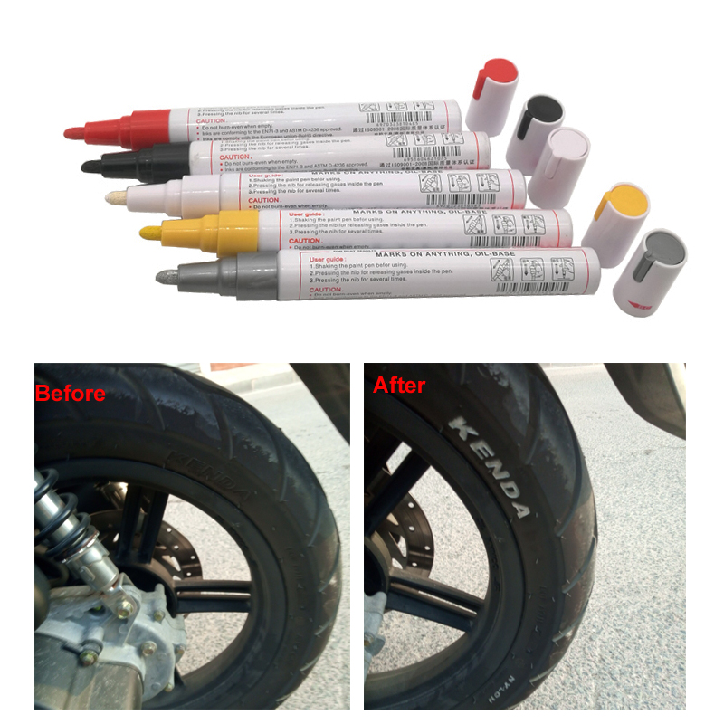 Car Paint Pen Colorful Waterproof Pen Oily Painting Mark Pen Wheel Tire Tyre Tread CD Metal Permanent Graffiti Paint