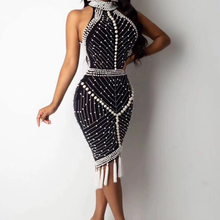Высокое качество знаменитостей Белый Черный кисточкой Бисероплетение сексуальное вискозное Бандажное платье Коктейльные Вечерние платья