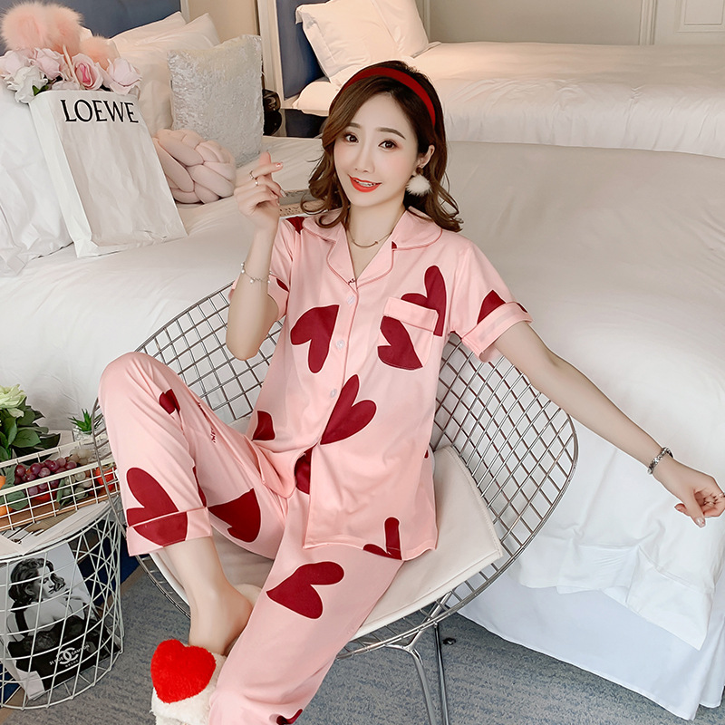 Short Sleeve Trousers Pajamas Women's Summer Cardigan Qmilch Peach Heart Multi--Fold-down Collar Spring And Autumn Homewear Set