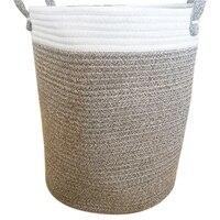 Nordic Baumwolle Seil Geschenk Korb Kleidung Lagerung Korb Spielzeug Kleinigkeiten Lagerung Korb Schlafzimmer Faltbare Lagerung Tasche Große Wäsche-in Wäschekörbe aus Heim und Garten bei