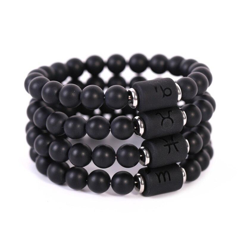 Amorcome 12 Zodiac Sign Black Chakra Bracelet Cancer Leo Virgo Libra Natural Stone Charm Bracelets Birthday Gift
