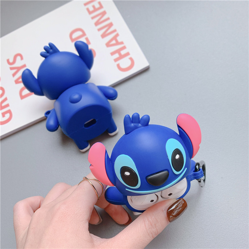 Earphone Case For Airpods 1 2 Case Cover 3D Cute Cartoon Stitch Silicone Phone Holder Case For Apple Air Pods 1 2 Case Funda