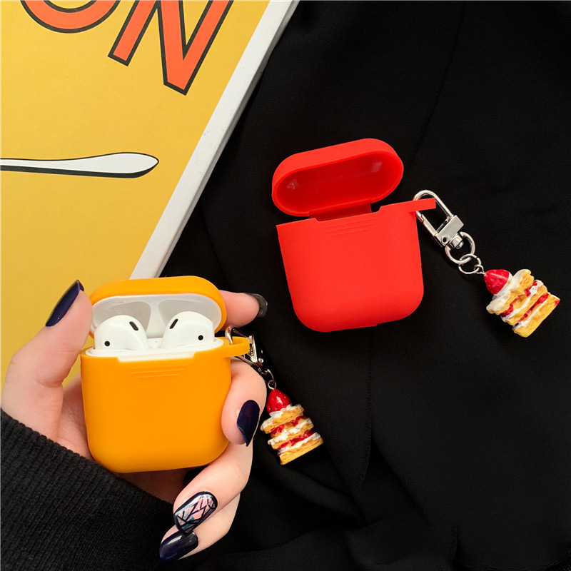 Soft Silicone Cake Pendant Earphone Shell For Apple AirPods Case Cute Cartoon Yellow Red color Bluetooth Wireless Protect Cover