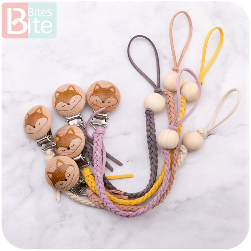 1pc Baby Leather Pacifier Chain Beech Printed Fox Nipple Clips Teething Rodent Holder Nipple Soother Chain Infant Baby Feeding