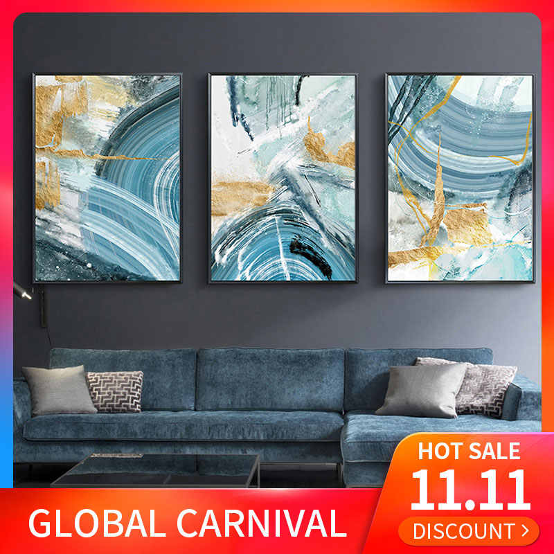 Modern Abstract Canvas Painting Poster and Print for Living Room Blue Bedroom Home Decor Picture Large Wall Art Golden Unframed