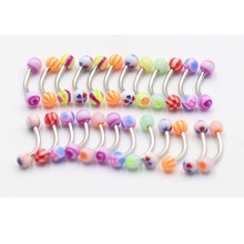 5pcs/lot  Acrylic 3mm Ball Eyebrow Piercing Curved Barbell Lip Ring Snug Helix Rook Earring