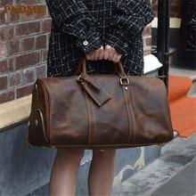 PNEME high quality crazy horse leather men women travel bag vintage luxury large capacity handbags genuine leather duffel bag