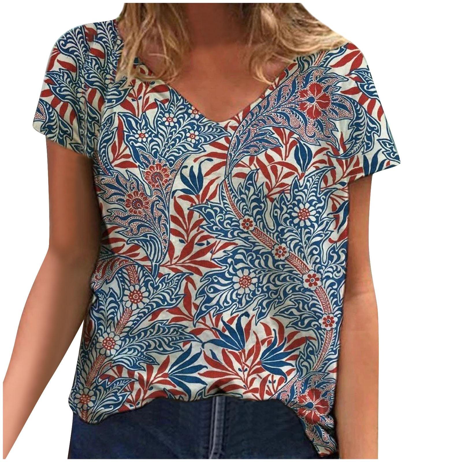 2021T-Shirts Plus Size Fashion Women Short Sleeve Printed V-Neck Tops Tee T-Shirt Female Camisetas Verano Mujer 2020 T-Shirt