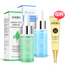 Hyaluronic Acid Serum Green Tea Essence Oil Control Moisturizing Face Cream Shrink Pores with Gift Collagen Eye