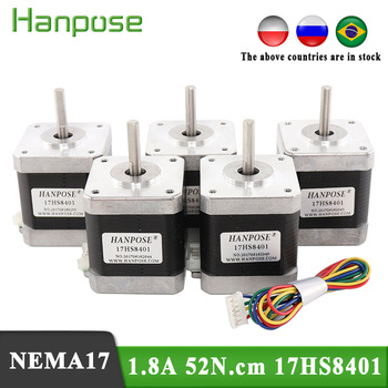 Free Shiping 5pcs Nema17 Stepper Motor  4-lead  48mm /78Oz-in 1.8A motor 42BYGH  (17HS8401)  motor  for mini cnc 3D printer цена 2017