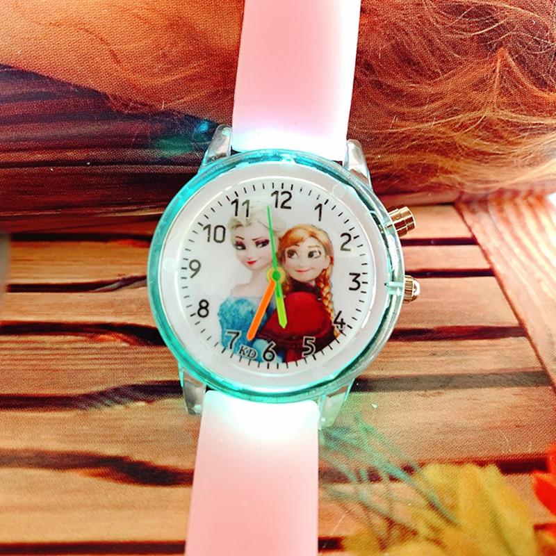 Princess Elsa Children Watches Electronic Colorful Light Source Child Watch Girls Birthday Party Kids Gift Clock Childrens Wrist