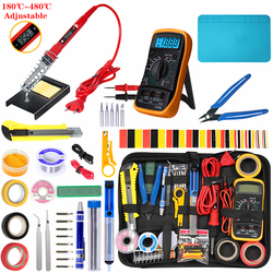 Soldering iron kit adjustable temperature 220V 80W LCD solder tools ESD Heat Insulation Soldering Working Mat Welding Tool Kits