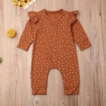 Polka Dots Button Romper Jumpsuit For Newborn Baby Girl Autumn Outfits