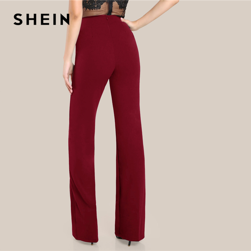 SHEIN Ginger High Rise Piped Pants Elegant Wide Leg Zipper Fly Plain Workwear Trousers Women Stretchy