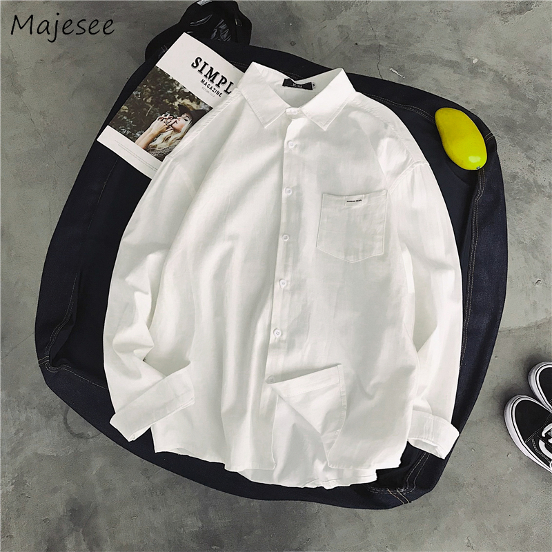White Shirt Men Solid Simple All Match Plus Size Chic Casual Long Sleeve Mens Shirts Korean Style Couple Clothes Harajuku Tops