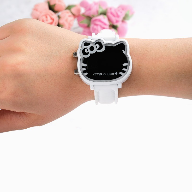 Hot Hello Kitty LED Children Watches Rubber Strap Child Watch Fashion Girls Kids Digital Wristwatch Casual Clock Reloj Mujer