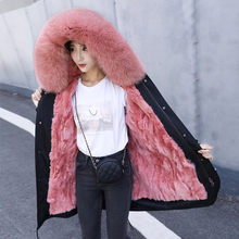 Winter Women Real Fur Jacket and Coat Long Parka Natural Fox Fur Collar Hood Thick Warm Real Rabbit Fur Liner(China)