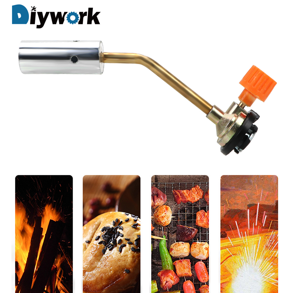 DIYWORK Portable Hand Ignition Camping BBQ Tool Flamethrower Burner Welding Torch Equipment Flame Gun Butane Gas Blow Torch